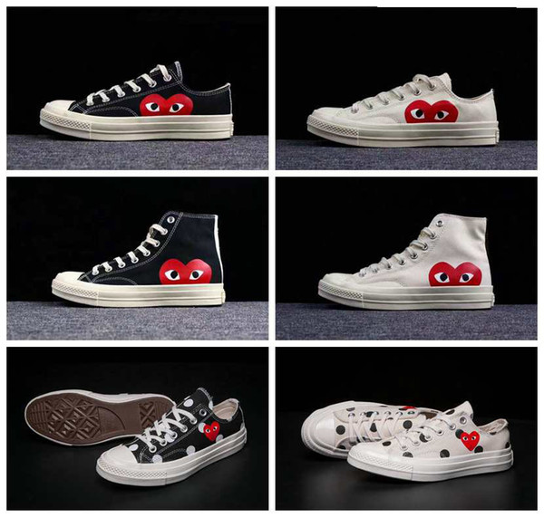 2019 New All Stars Shoes CDG Canvas Big eyes Hearts 1970s Beige Black white designer Classic 1970 casual running Skate Sneakers 35-44