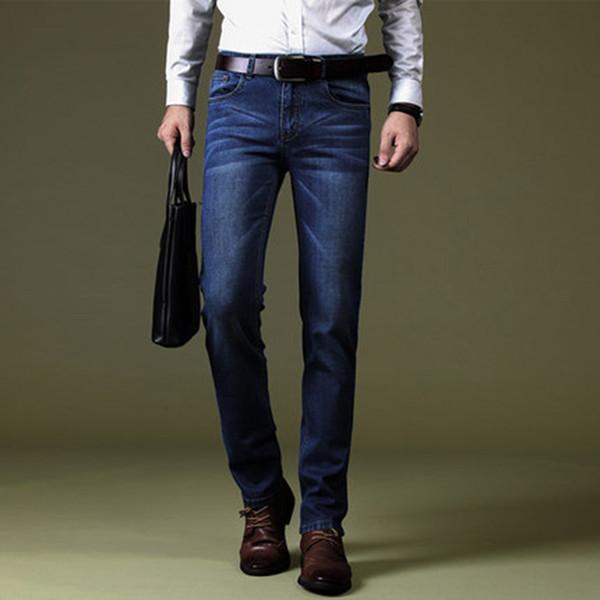 Jeans Hommes Classique Direct Stretch Bleu foncé D'affaires Décontracté Denim Pants Slim Longs Pantalon Rayé Elastici Gentleman Cowboys