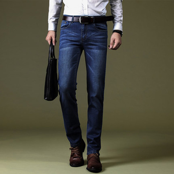 Herren Jeans Classic Direct Stretch Dunkelblau Business Casual Denim Hosen Slim Zerkratzt Lange Hosen Elastici Gentleman Cowboys