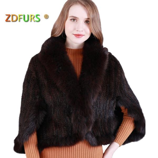 ZDFURS *New Genuine Knit Mink Fur Shawl Poncho With Fox Trimming Real mink fur jacket Fashion Women ZDKM-166001 Y18102601