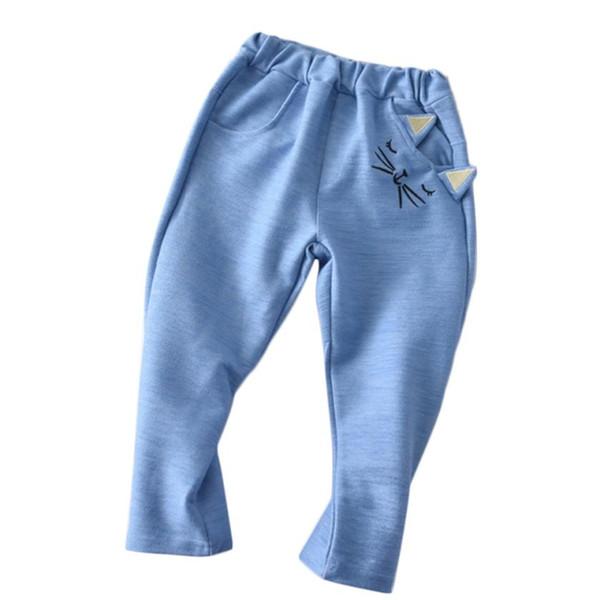 Arloneet Toddler Kid Cartoon coton rayé jambières Garçons Filles Cartoon Chat imprimé Casual Long Pantalon Pantalon l0731