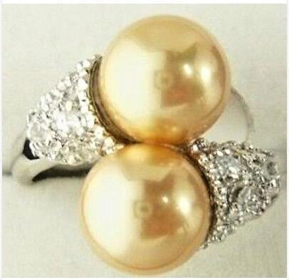 Noblest 8mm Golden South Shell Sea Pearl Round Bead Ring 7 8 9