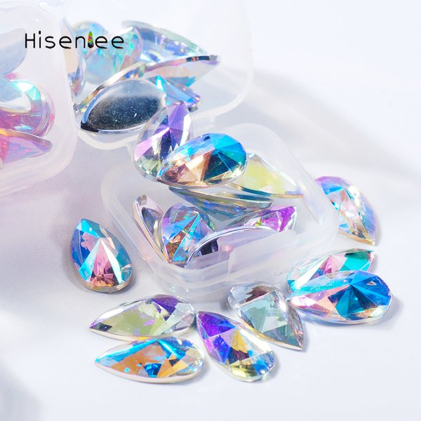 2Boxes 4Grids Pop Super Shiny Charm Acrylic Rhinestone Flat Bottom Tip Shape Drop DIY Nail Art Handicraft Accessories Decoration