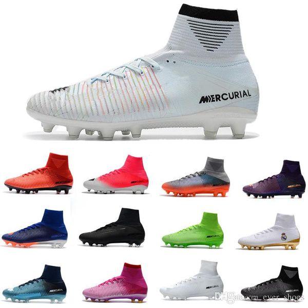 2018 Gençlik Mens futbol ayakkabıları Kramponlar de CR7 çocuk futbol Kramponları assassin Retro chaussures FG spikes AG Mercurial Ronaldo 3 tasarımcı çizmeler