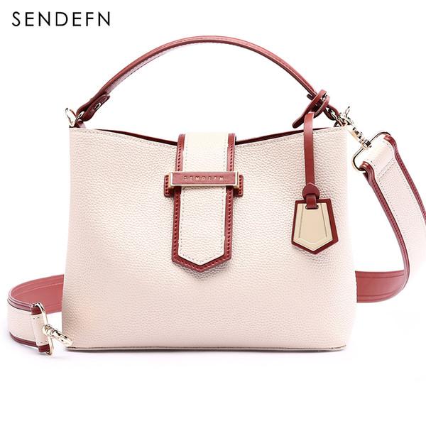 Sendefn Luxury Handbags Women Bags Designer Black Women Leather Handbags White Crossbody Bags For Zipper&Hasp Phone Pocket