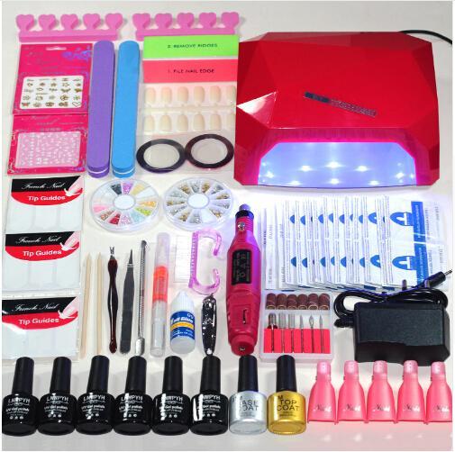 36W lampe UV 6 couleurs tremper hors gel ongles top coat kit de vernis à ongles ensemble de manucure Set de vernis à ongles ensemble de poignée de manucure électrique