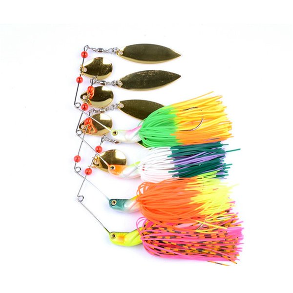 Wholesale New 4pcs Spinner hard Baits 0.7 oz rubber jig Spinners 17G fishing lures metal lure strong hooks free shipping