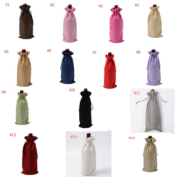 Linen Drawstring Wine Bags Dustproof Wine Bottle Packaging Champagne Pouches Christmas Gift Bags Party Gift Wrap 14Colors TC181009