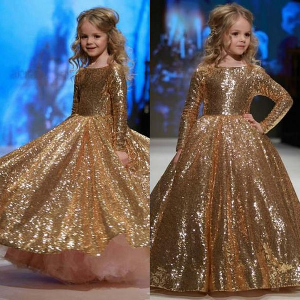 Gold Sequined Flower Girl Dresses Long Sleeve for Country Wedding Party Cute Toddler Crew Neck Baby Child Birthday Formal Pageant Dresses