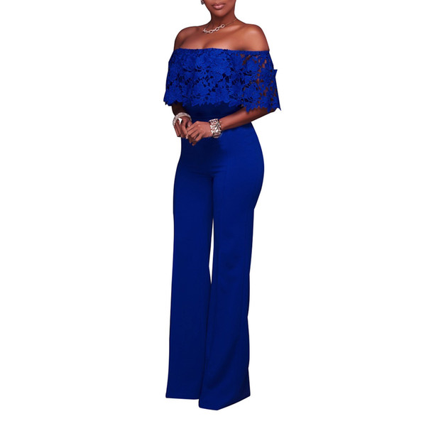 Summer Women Sexy Jumpsuit Off Shoulder Backless Lace Patchwork Casual Wide Leg Rompers Pants AIC88