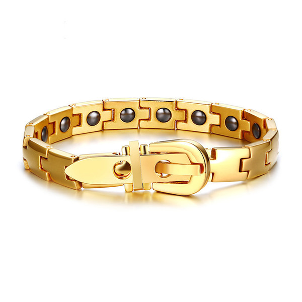 Mens Magnetic Therapy Bracelet Stainless Steel Healthy Energy Stone Inlay 8MM Gold Plated Link Chain Male Bracelets Bangles 19.5cm-20.5cm