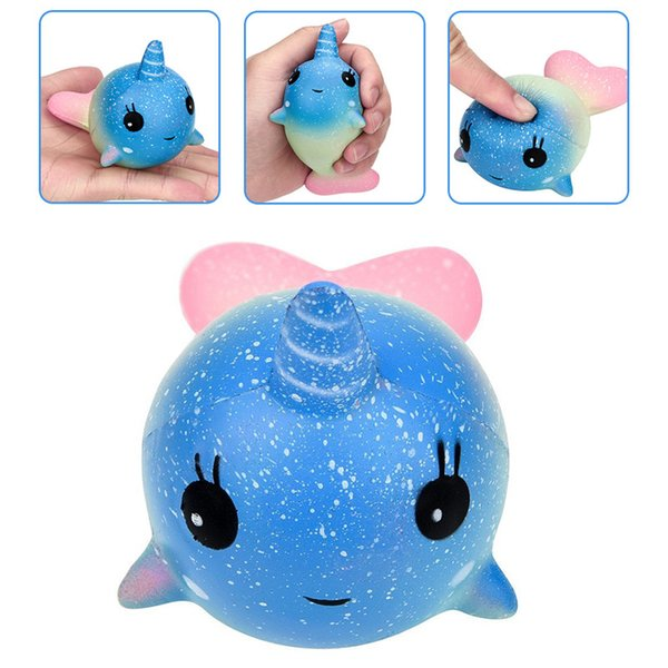 12cm Cute Unicorn Squishy Colorful Whale Slow Rising Straps Rainbow Dolphin Squeeze Scented Bread Cake Kid Fun Toy Gift Release Toy