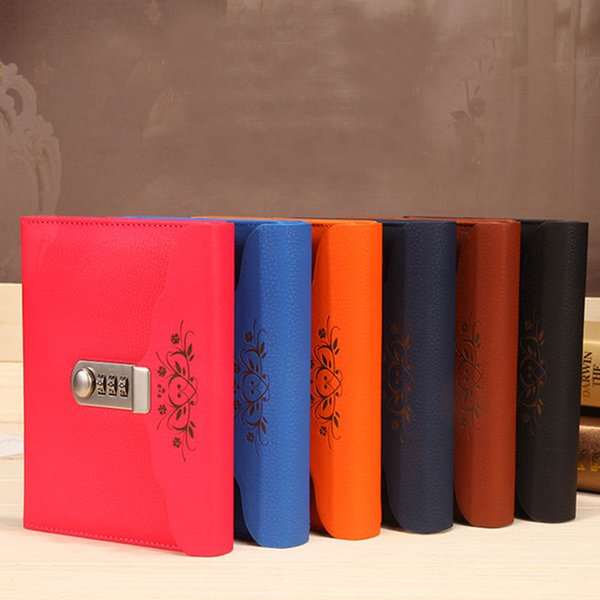New Personal Diary with Lock code Leather notebook paper 100 sheets thick Notepad Stationery office shcool supplies Gift