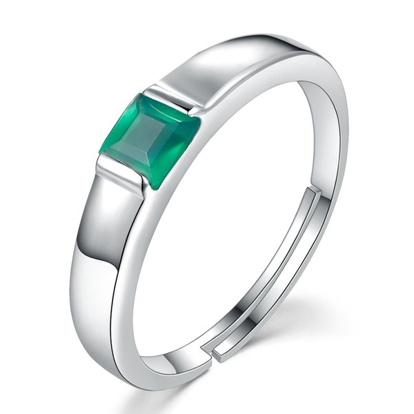 LAMOON Fine Jewelry Classic Rings 0.23ct Green Agate Chalcedony 925 Sterling Silver Jewelry Wedding Party Accessories RI006 Y1892704
