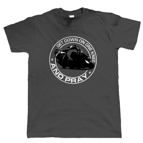 Desça sobre um joelho motociclista t-shirt - moto superbike - presente para o pai dele casual t-shirt masculina manga curta padrão
