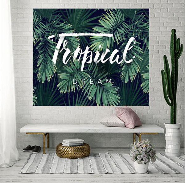 150*130cm polyester American Tapestry Tropical leaves style Beach Towels Throw Yoga Mat Towel Indian Polyester wall hanging Decor