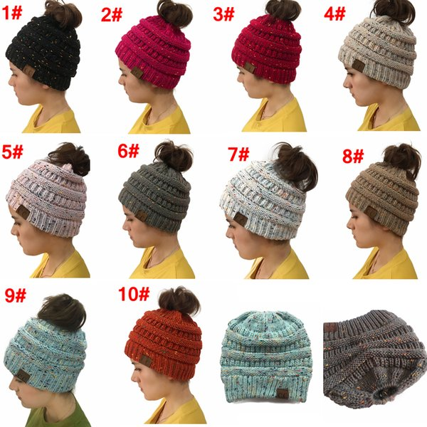 Compre Cc Ponytail Beanie Cap Mujeres Crochet Knit Hat Invierno ...