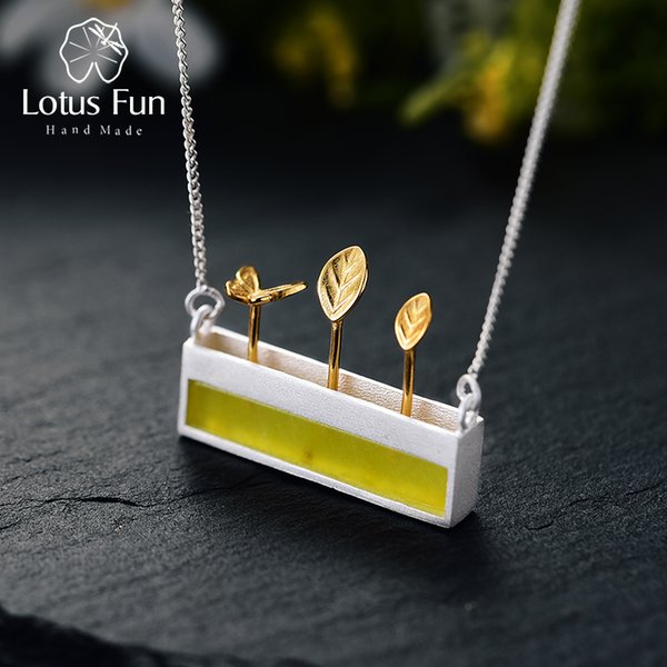 Lotus Fun Real 925 Sterling Silver Natural Stone Handmade Designer Fine Jewelry Minimalism Necklace with Pendant for Women Y18102910