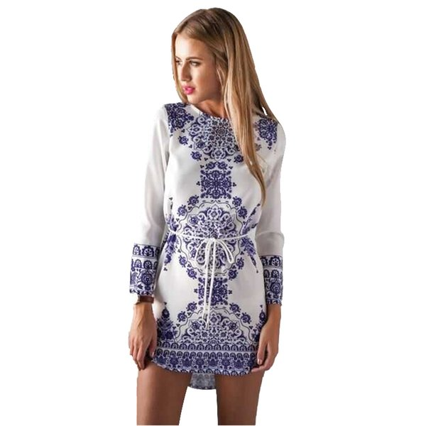 Europe Russia Casual Dresses Vintage Blue White Porcelain Print high quality Chiffon long-sleeve casual Dresses Tie Waist Drawstring dress