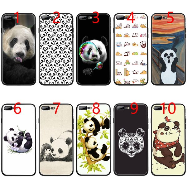 Cute panda Soft Black TPU Phone Case for iPhone XS Max XR 6 6s 7 8 Plus 5 5s SE Cover