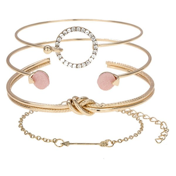 4Pcs/setTrendy Accessories Alloy Crystal God Silver Double-layer Tie Arrow Circle Open Bracelets For Women Jewelry Bangle