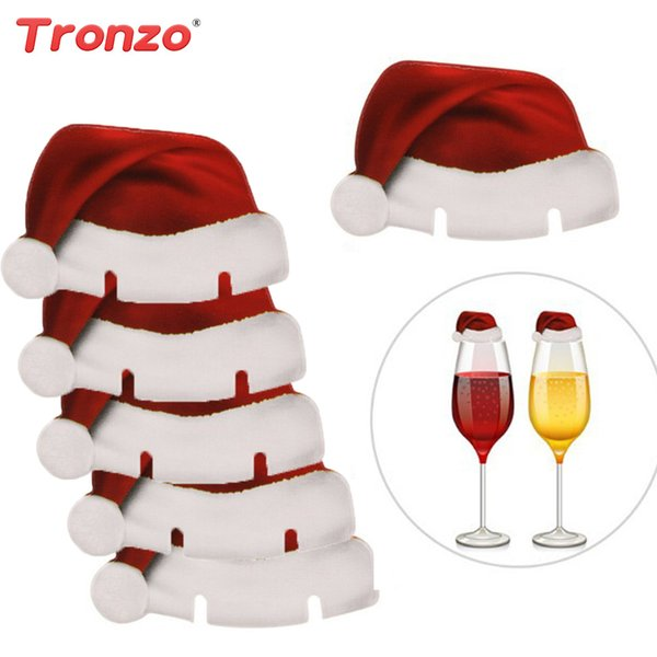 4cd3327e014 Tronzo Christmas Decoration For Home 10pcs Santa Claus Hats Paper Wineglass Card  Christmas Red Wine Glass Card Xmas Decor