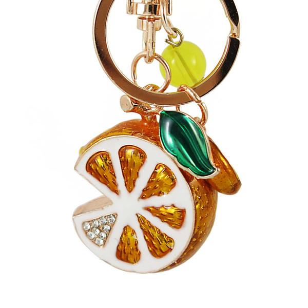 TianBo 3D Obst Schlüsselanhänger Orange Lemon Charm Anhänger Kristall Strass Schlüsselanhänger für Handtasche Tasche Auto Party Hochzeit Geschenk-Kollektion