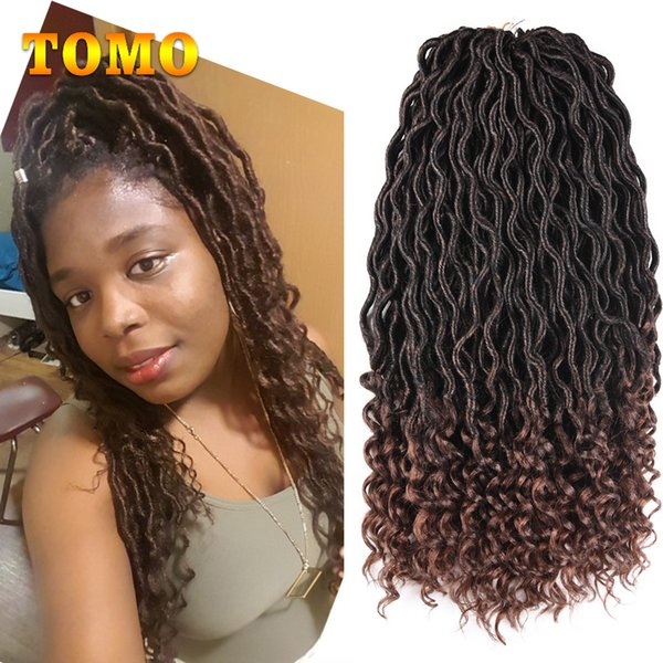 TOMO Dark Brown Faux Locs Curly 18 Inch Long Crochet Braids Kanekalon Synthetic Dreadlocks Ombre Braiding Hair Extensions 24 Roots/pack