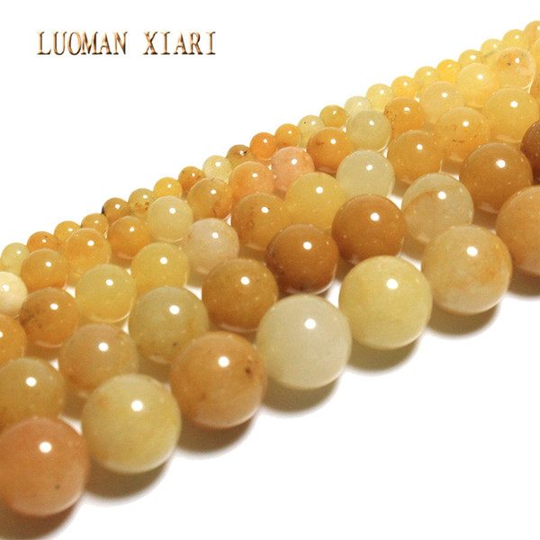 whole saleLUOMAN XIARI Natural Round Lighter ImperIal Jade Stone Beads For Jewelry Making DIY Bracelet Material 4/ 6/8/10/12mm Strand 15''