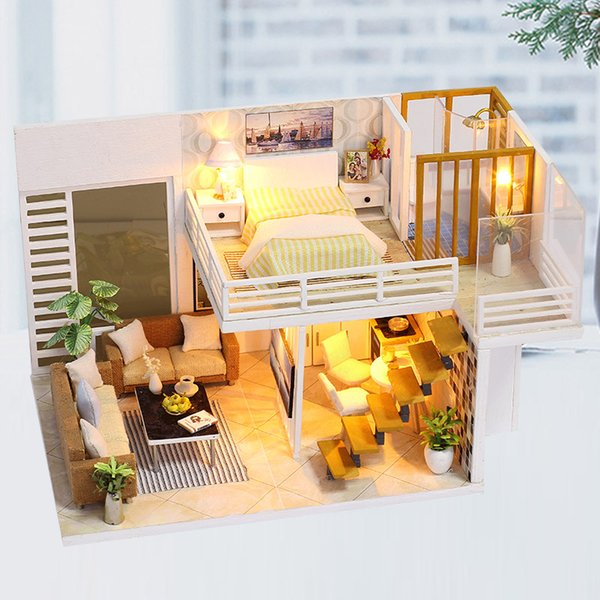 Minature Dollhouse DIY Doll House Casa Wooden Villa Model With Furnitures Building Kits Christmas Gift Toys For Children K031 #E
