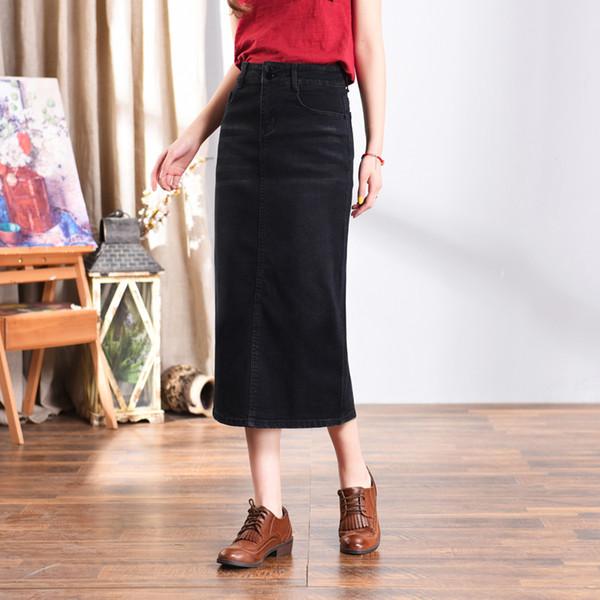 new product f9f60 70ec1 Acquista New Fashion Gonne Dritte Donne Plus Size Nero Autunno Primavera  Impero A Metà Polpaccio Gonne Casual Misto Cotone Gonne Denim Hdq0802 A ...