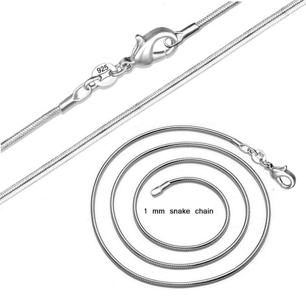 2018 Direct Selling Chains Hot Sales 925 Silver 1mm Snake Chain Necklace Charms Smooth Necklace16-24inches Fashion Jewelry free Shipping Dhl