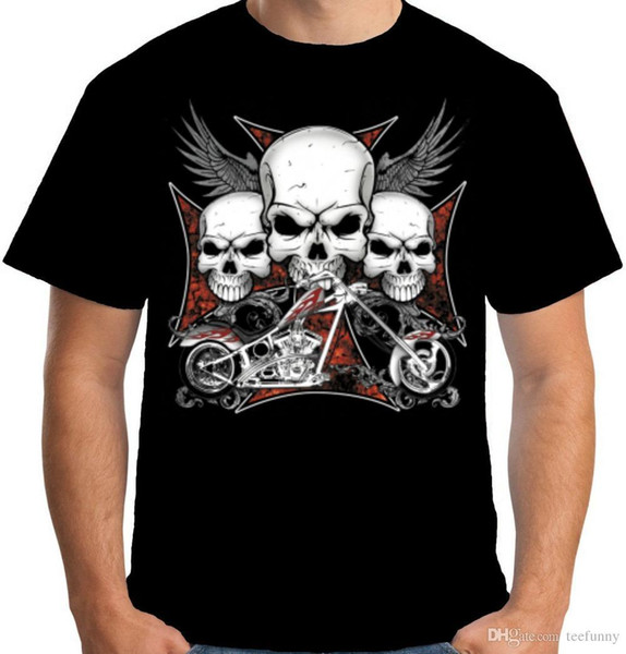 Sommer 2018 Berühmte Marke Velocitee Mens Schwarz Chopper Schädel T-shirt Bobber Biker Outlaw Chopper W16195 Hip-Hop Tops Tees