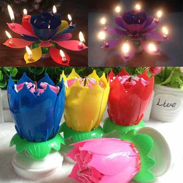 Colorful Petals Music Candle Children Birthday Party Lotus Sparkling Flower Candles Squirt Blossom Flame Cake Christmas Accessory Gift