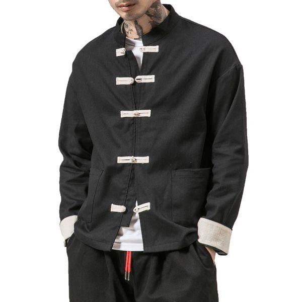 Kimono Jacket Men 2018 Hombres Chaqueta de algodón China Style Rana Cierre del botón Kongfu Coat Hombres Sueltos Parchwork Cardigan Overcoat 5XL