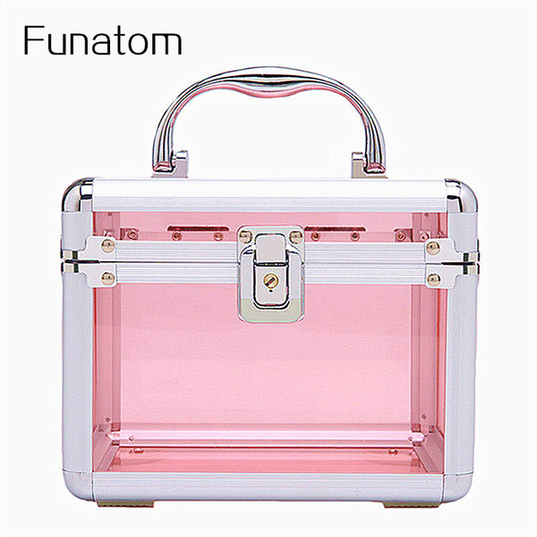Professional Aluminum Cosmetic bag Women's Transparent Multi Jewerly box with lock mala da cosmetica Makeup case Makeup box