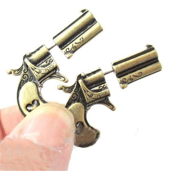 High Grade Retro Silver Bronze color Fake Double Gun Pistol Shaped Faux Plug Stud Earrings for Women Girls Ear Jewelry jl-016