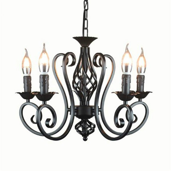 Industrial lustre chandelier wrought iron 3 5 6 light chandeliers vintage candlestick retro black white hanging lamp wholesale