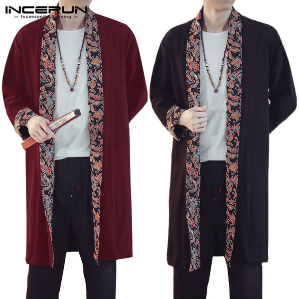 INCERUN Mens Trench Coat Long Sleeve Lapel Cotton Linen Outerwear Floral Patchwork Baggy Chinese Style Casual Men Cardigan Cloak