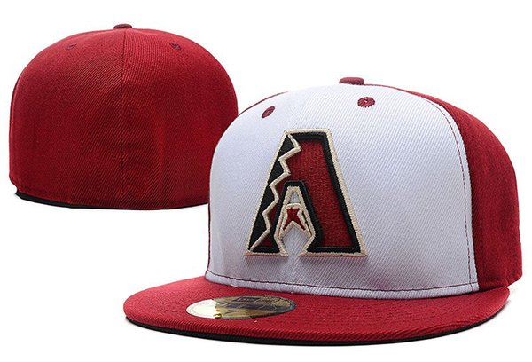 Hotsell 2018 New Diamondbacks Closed Caps Embroidered Character Logo Sport Team Hip Hop Baseball Fitted Hats White Red Color