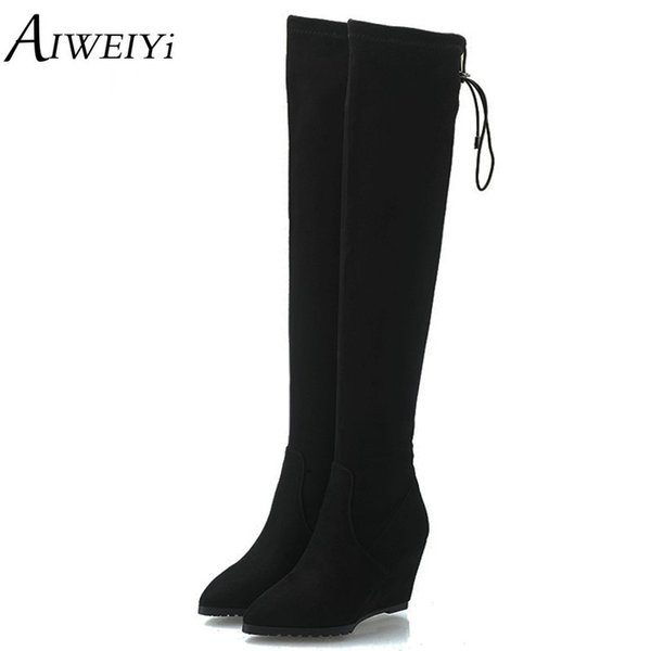 AIWEIYi 2018 Classic Ladies Winter Shoes Wedge High Heel Over The Knee Boots Flock Shoes Woman Motorcycle Boots Ladies