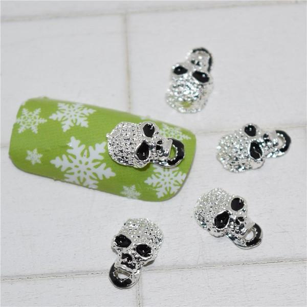 10psc neue schwarze Schädel 3D Nail Art Dekorationen, Legierung Nagel Charms, Nägel Strasssteine liefert # 198