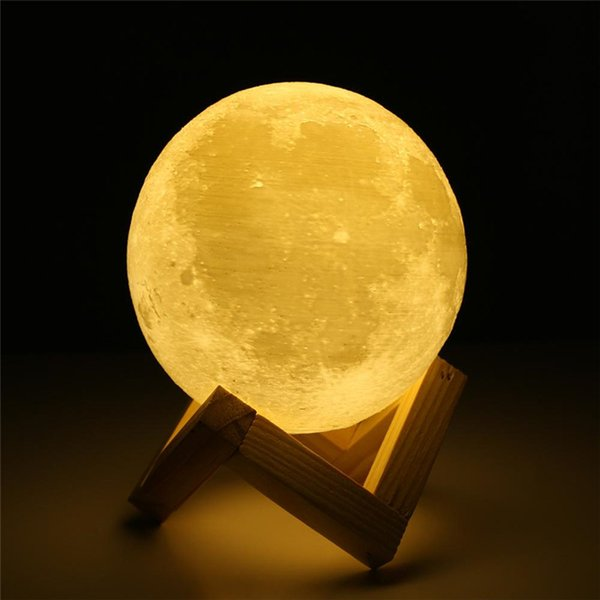 Rechargeable Night Light 3D Print Moon Lamp 9 Color Change Touch Switch Bedroom Bookcase Nightlight Home Decor Creative Gift