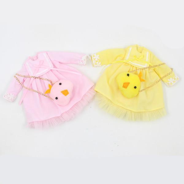 платье для куклы Блайт кукла розовый желтый платье с Simsimi мешок костюм для 1/6 азона BJD пуллип licca