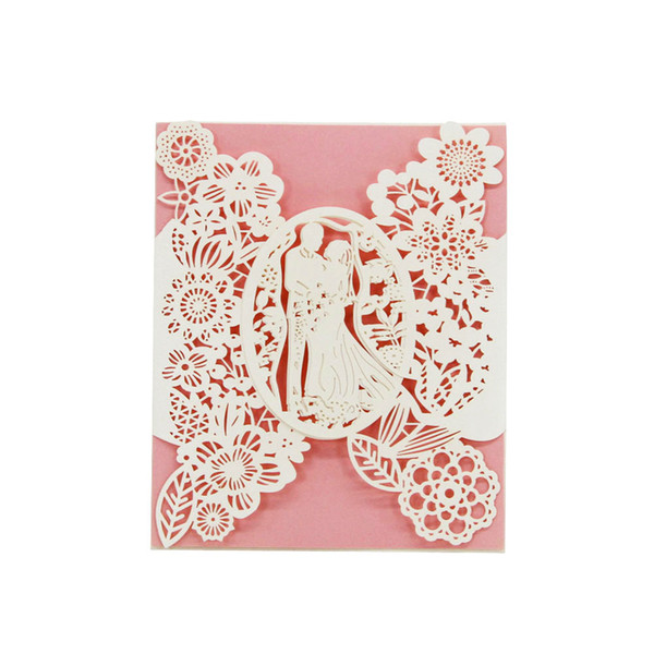 Laser Cut Wedding Invitations OEM in 41 Colors Customized Hollow With Lovers Flowers Personalized Wedding Invitation Cards #BW-I0305