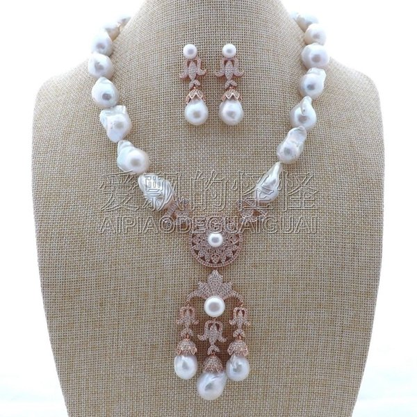 """S112201 20"""" White Keshi Pearl Necklace Earrings Sets"""