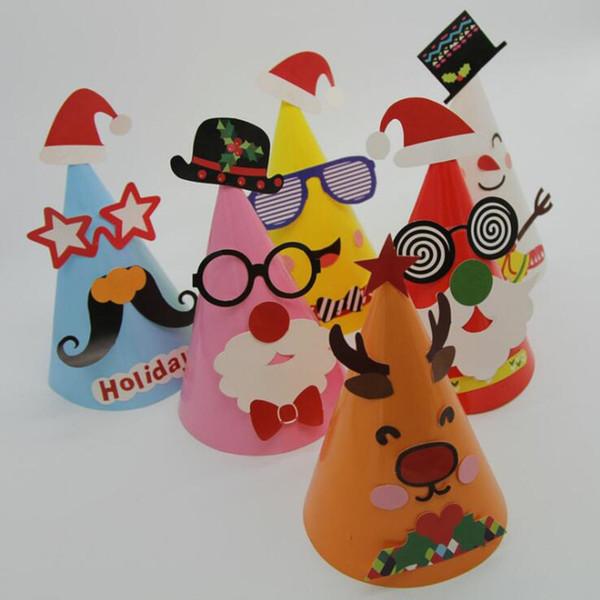 Kinder DIY handgemachte Weihnachten Papier Hut Kinder Kindergarten Handwerk Caps Geburtstag Party Hüte Kleid liefert Weihnachten