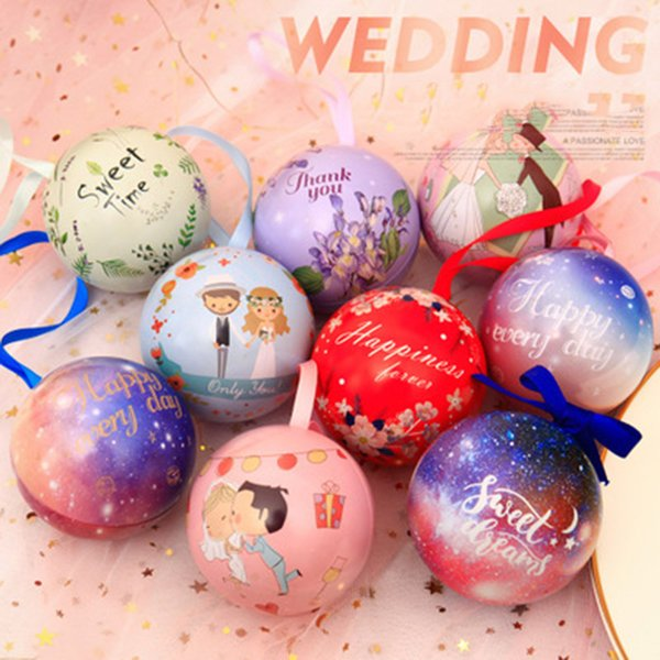 Colorful Solid Small Iron Round Ball Wedding Sweet Love DIY Creative Birthday Party Favor Gift Box Candy Bag Spherical Tin