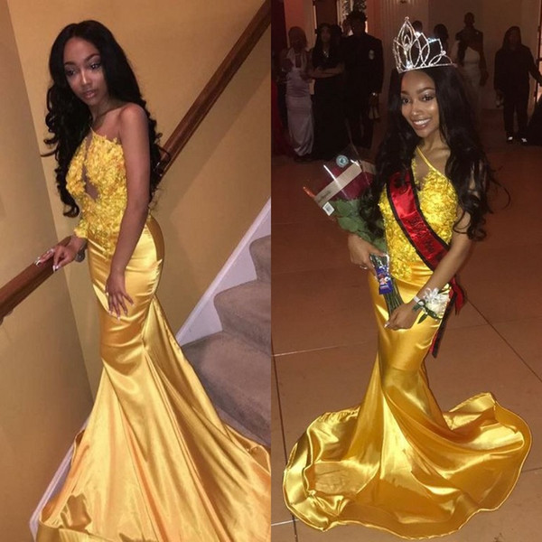 2018 sexy cheap plus size mermaid yellow prom dresses formal evening gowns dresses black girl prom dress