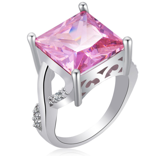 Platinum Plated Zircon Square Zircon Ring Fashion Metal Geometric Type Ring 2Color &4 Size